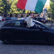 Victory celebrations in the streets of Asti.